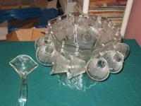 Glass Punch bowl with pedestal base. 12 cups with