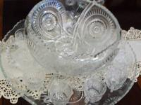 PUNCH BOWL SET LARGE UNDER PLATE, 24 CUPS,AND GLASS