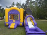 The Purple & Gold Combo Bounce/Water Slide makes