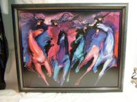 This is a dynamic abstract print of running horses with