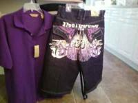PURPLE SHORTS SIZE 36 AND PURPLE SHIRT $25 FOR THE