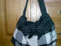 1: Black and white American Eagle plaid bag- $5 2: