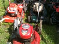All brands of push mowers some self propell, some with