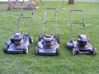 Here we have for sale three push mower's for $50