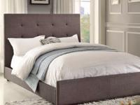 queen new dark grey bed without mattress $270. head