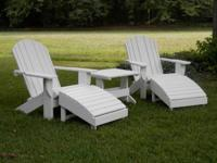 These are unstained Adirondack chairs. They are made