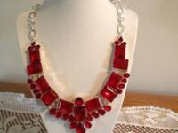 Beautiful ruby red crystal faceted necklace, silver