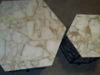 Marble coffee table and 3 marble end tables All a