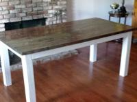 Charming 6ft x 3ft walnut finish farm table. Table