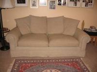 Quality fabric sofa, custom made by King Hickory
