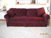 BEAUTIFUL BURGANDY BROYHILL SOFA $250 TWO HICKORY HILL