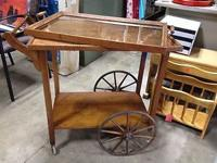Fabulous Large Wheel Antique Tea Cart Rare Quartersawn