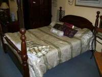 Complete bed with frame and matteress box spring.