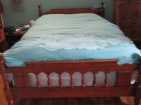 Like new Queen Bed frame- dark cherry hardwood - $100