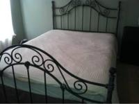 Metal queen bed. Headboard footboard and frame.