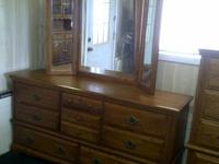 Solid medium oak chest,dresser with wing mirror &