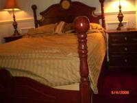 queen size solid cherry cannonball bed, headboard &