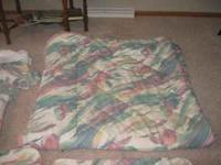 Heavy queen comforter, bed skirt, 2 quilted pillow