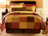 Beautiful and colorful queen sized satin / cotton quilt