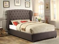 Queen tufted linen Grey Bed without mattress new for