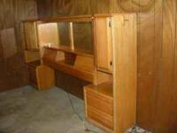 Oak Headboard unit with lights above the mirrors. QUEEN