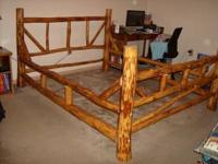Beautiful Peeled Log Bed Frame Queen size 500.00 Must