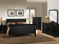 The Black Louis Philipe consists of Queen bed, dresser,