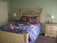 queen size headboard footboard and rails, dresser with
