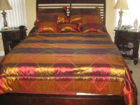 American Signature Queen size Cherry wood sleigh bed,