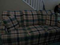Plaid queen size sofa sleeper. Good condition. $200.