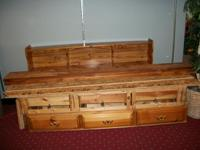 Queen waterbed frame with 6 underdresser drawers, and