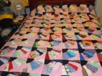Quilt Fan design. Queen size. Hand stitched. Asking