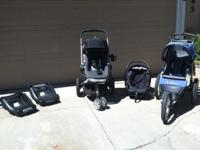Complete Quinny set: Infant car seat with two bases.