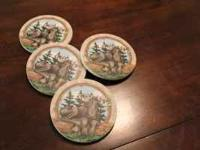 "Set of 4 ""Quirky"" Moose Coasters. 4"" in diameter. Very"