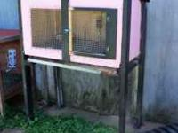 I have a custom made rabbit hutch with metal tray on