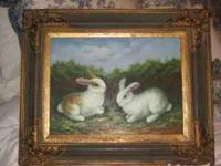 Beautiful rabbit painting and frame. Asking $100.00