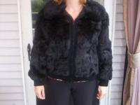 2 black rabbit fur coats, large collar, zipper closure,