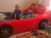 Twin size race car bed gently used. Upgrading my son