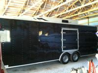 2007 BLACK 8.5'X26' V-NOSE RACE CAR TRAILER LOADED WITH