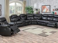 This black color bonded leather sectional will