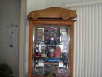Racing Curio Cabinet with Checkered Flag on backside of