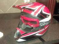 youth racing helmet with goggles $30.00 john  Location: