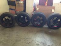 """17"""" X 7.5"""" 4 LUG DRIFZ 207B CARBON BLACK W/ RED RACING"""