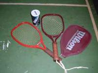 Two racket ball rackets and can of balls $20 pair OBO.