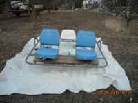 Metal oaring frame for whitewater raft. Breaks down
