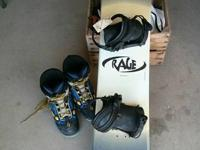 Rage snowboard and Boots Snowboard with bindings.