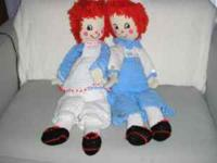 Hand crocheted 3ft. Raggedy Ann & Andy dolls. Call: