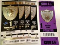 I have 4 Tickets for the Raiders Game. Section 141, Row