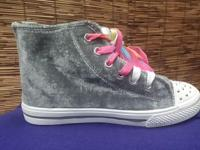 Rainbow lace-up, Velvet styled gray high-top,