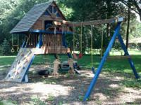 Authentic Rainbow Swingset. Clubhouse model with wood